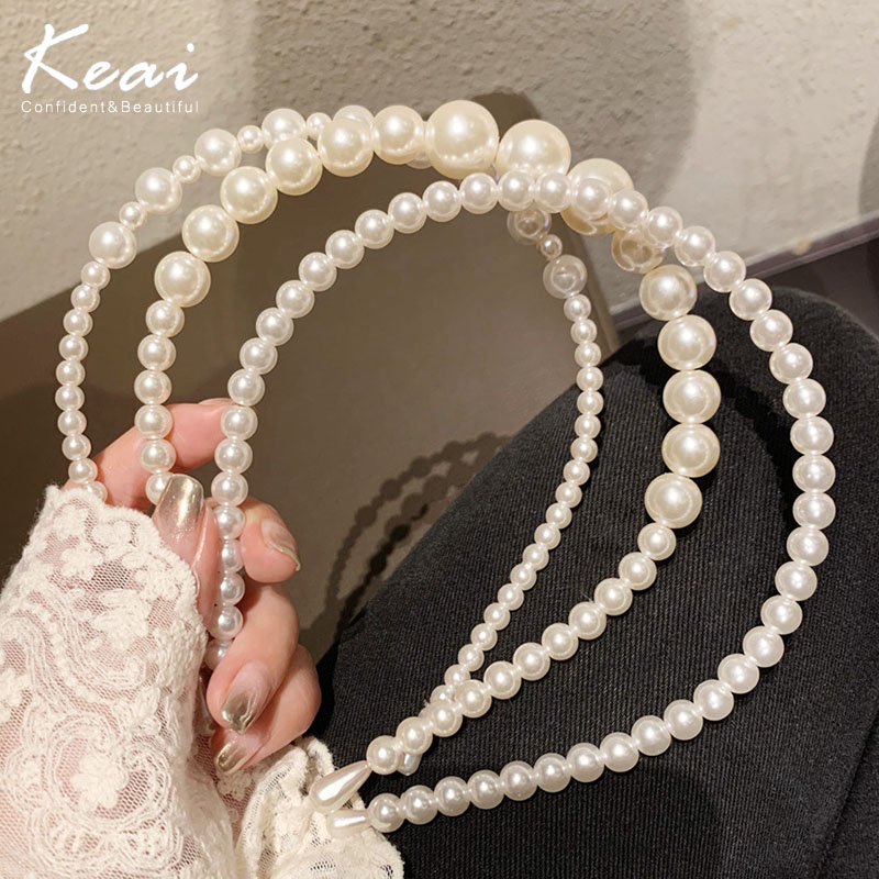 2020 New Women Elegant Full Pearls Hairbands Sweet Headband Hair Hoops Holder Ornament Head Band Lady Fashion Hair Accessories|Women