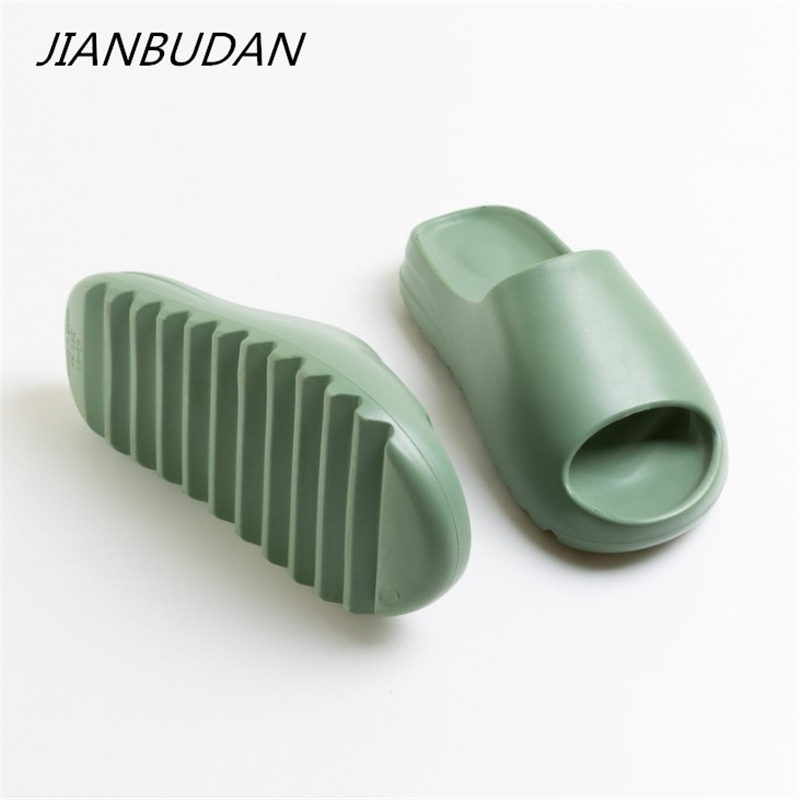 JIANBUDAN Indoor Comfortable Soft Slippers Men Women Non-slip Bathroom Home Shoes Flat EVA Thick Sole Slides Women's Sandals
