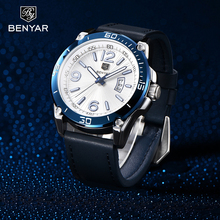 2020 BENYAR Fashion Mens Watches Top Brand Luxury Big Dial Military Quartz Watch Leather Waterproof Sport Wrist Men Clock
