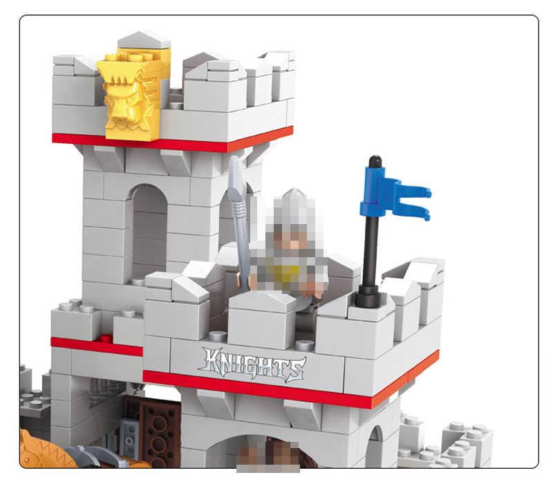 Şövalyeler ve at kale modeli yapı taşı Mini bebek figürleri tuğla hobiler oyuncaklar çocuklar için uyumlu Legoed film 686 adet