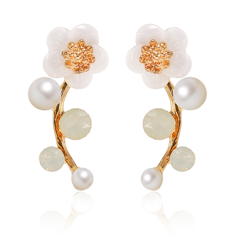 Double Round Pearl Yellow Gold Filled Womens Koren Clous d/'oreilles Fashion Jewelry