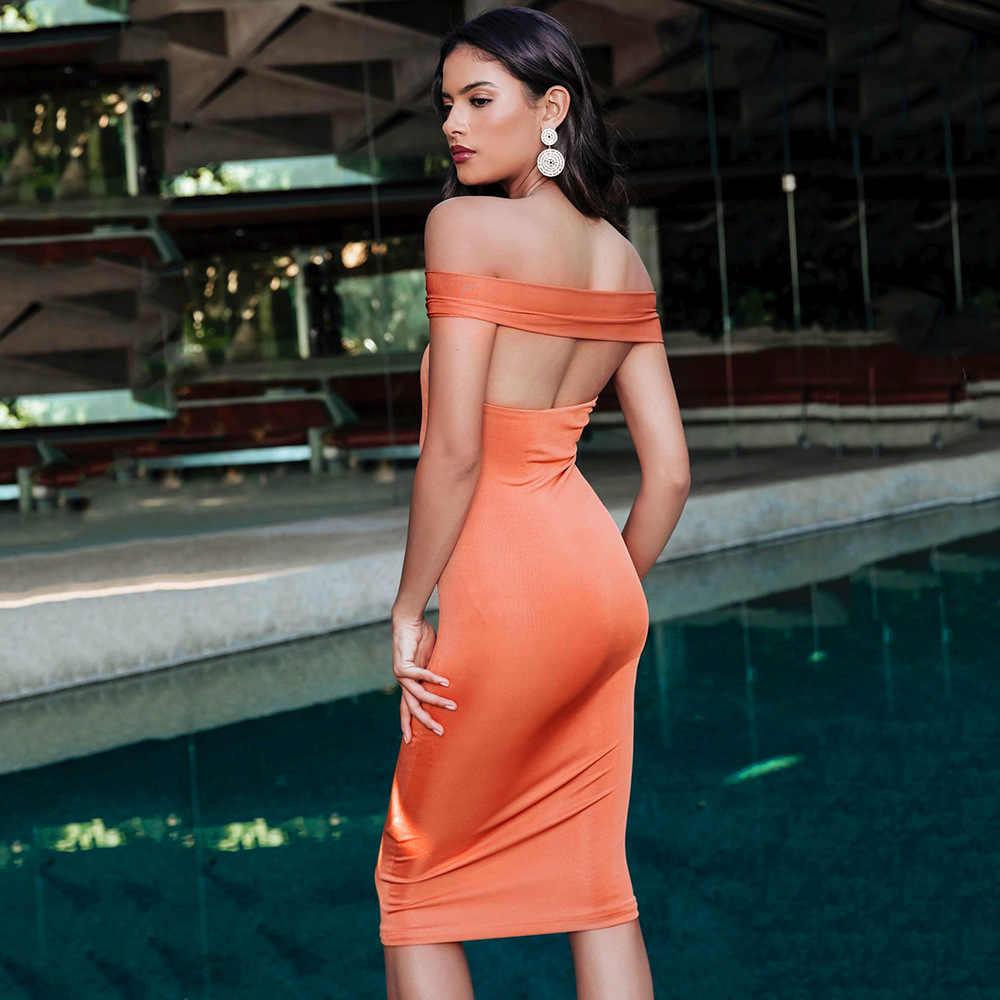 Bangniweigou Off Shoulder Backless Hollow Out płaszcza kobiety Bodycon pomarańczowy Midi sukienka Nightout elegancka sukienka na przyjęcie urodzinowe