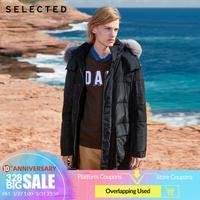 SELECTED Men's Winter Mid length Down Coat Fox Fur Hooded Outwear New Duck Down Jacket S   419412555