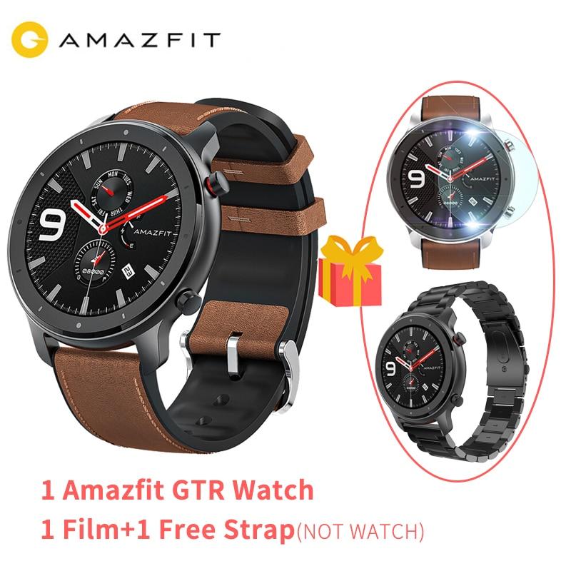 2019 nouvelle version mondiale Amazfit GTR montre intelligente 47mm AMOLED écran 24 jours vie de la batterie GPS montre hommes 50ATM étanche natation