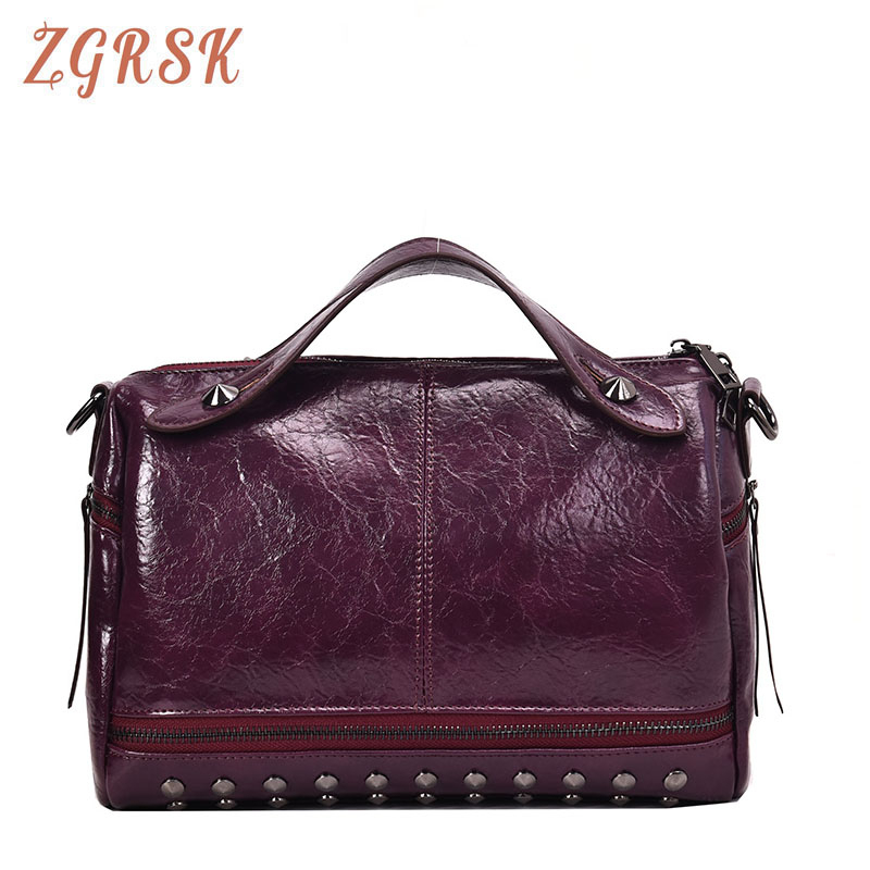 Female Rivet Handbag Designer Vintage Pu Leather Crossbody Bags For Women Handbag Single Shoulder Bag Female Handbags And Purses