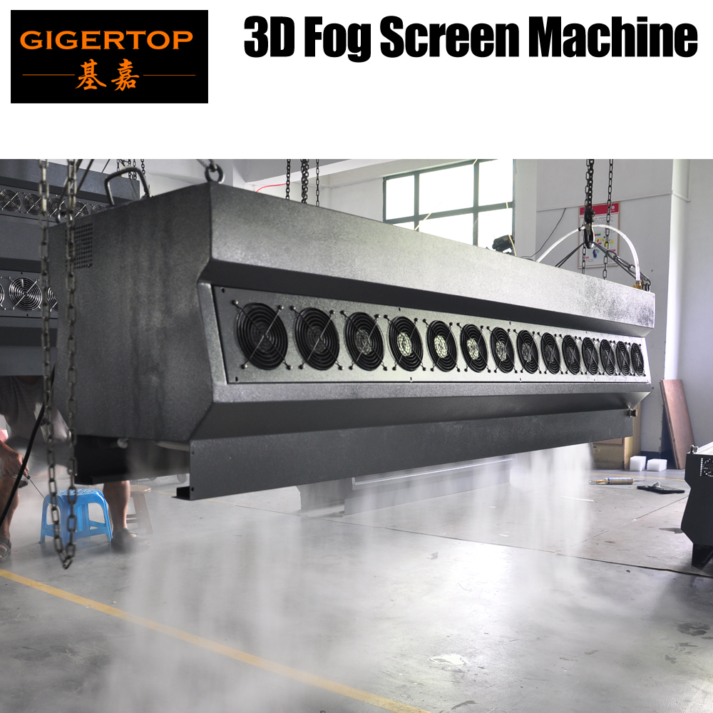 Gigertop New 3D Fog Screen Machine Hanging Water Curtain Photo Video Logo Play Water Fog Curtain Remote Control Flightcase Pack