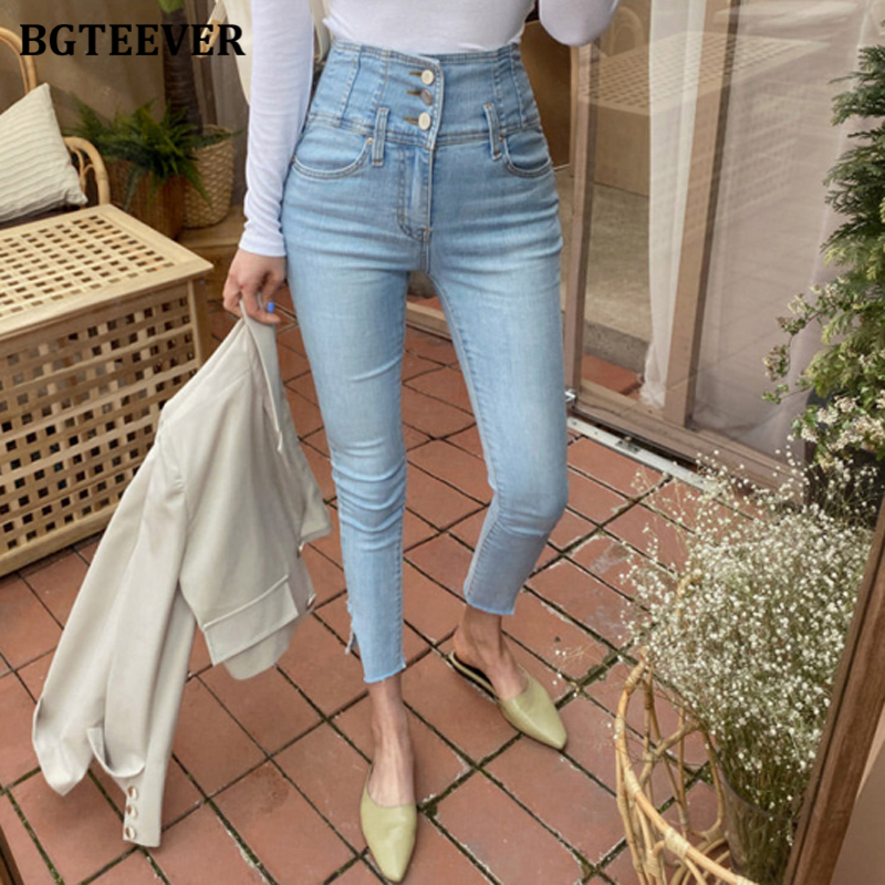 BGTEEVER Streetwear Skinny Female Jeans 2020 Summer High Waist Pencil Jeans For Women Stretch Ripped Denim Pants Femme