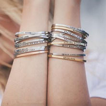 I AM ENOUGH Inspirational Bracelet Gift Jewelry For Women Men Stainless Steel Silver Customized Mantra Bracelet Cuff Bangle 2019(China)