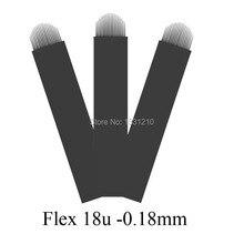 100 Pcs Black Microblades MICROBLADING Needles Blades Curved Stroke Sterile - Flexible  18 U Dia 0.18mm