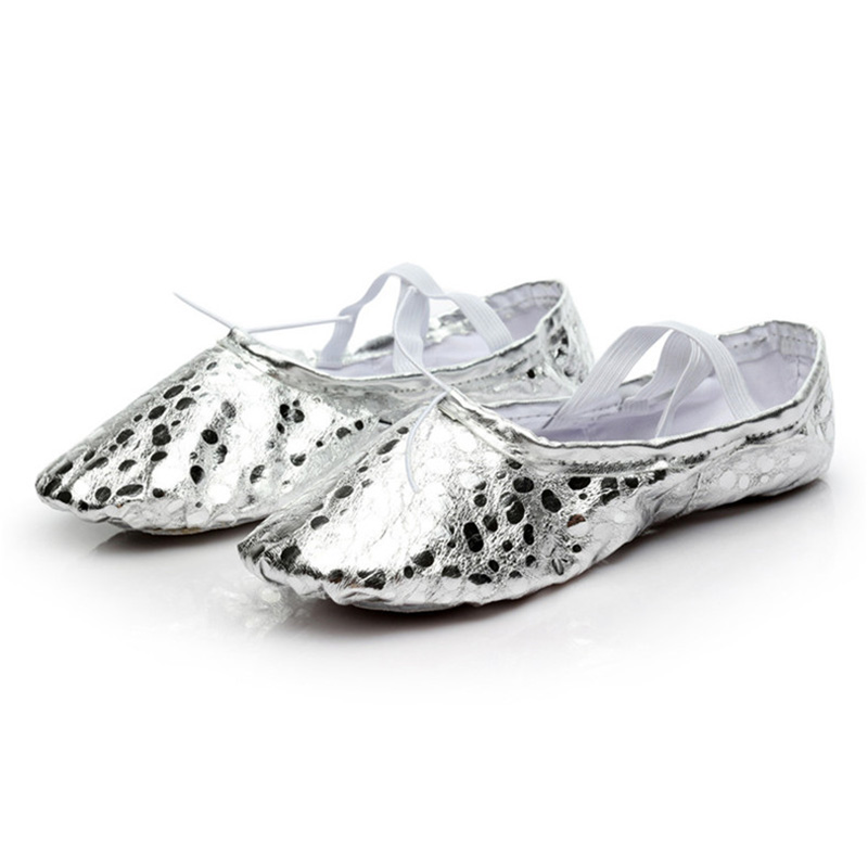 USHINE  Professional Quality PU Gold Silver Training Body-shaping Yoga Slippers Shoes Belly Ballet Dance Shoes Kids Girls Woman