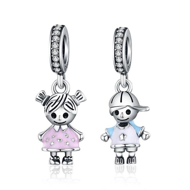 Dazzling Heart Shape Girl Boy Beads For Women Jewelry Making Forever Love Charm 925 Sterling Silver Charm Bracelet Bijoux 1223