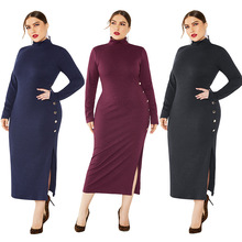 Women's Solid Color Side Slit Dress 2019 Autumn Winter Sexy Stretch Slim Turtleneck Sweater Dress Lady Long Sleeved  Knit Dress цена 2017