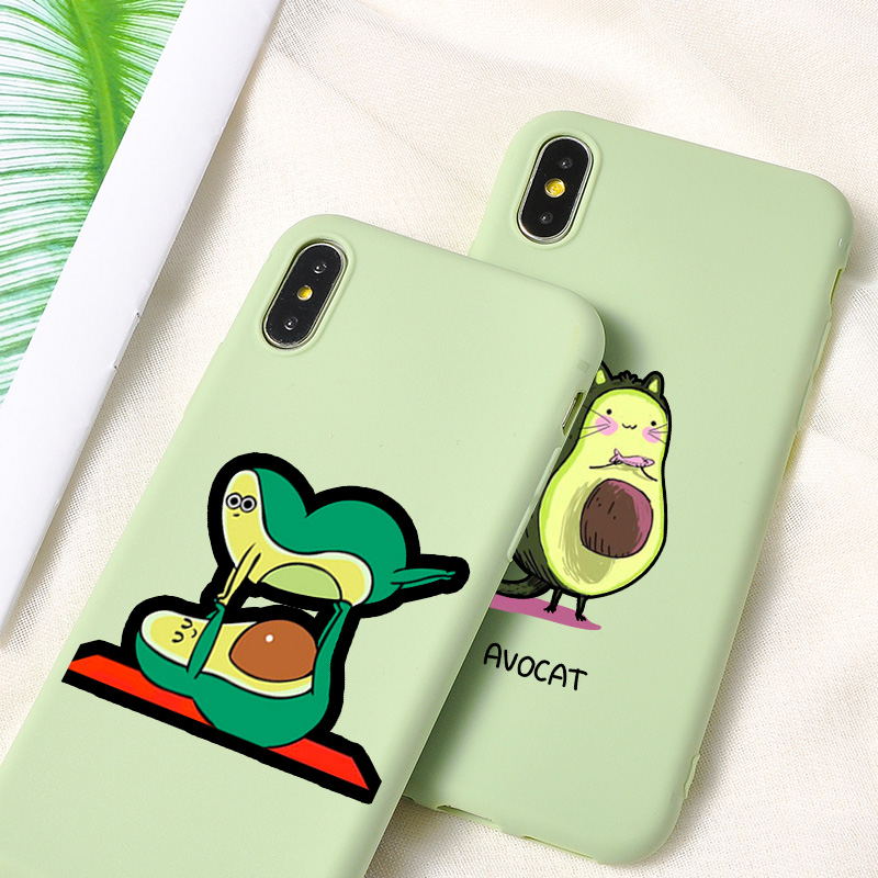 Cartoon Cute Avocado Phone Case Coque For iPhone 7 8 Plus XR X S MAX 6 6S Plus Cases Silicone Phone Cover For iPhone 11 Pro Case