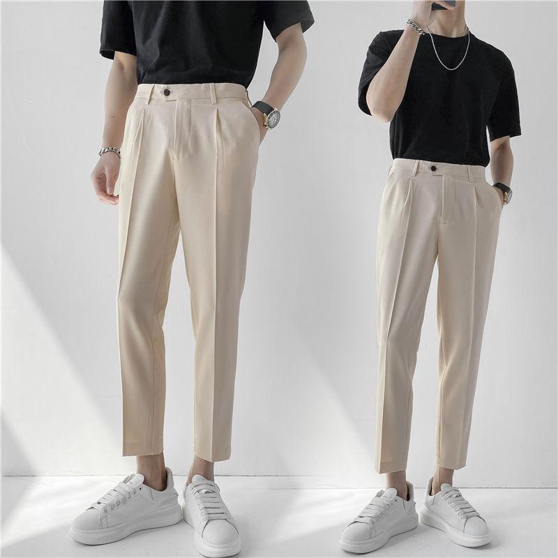 Spring And Summer Suit Pants Men's Slim Fashion Business Society Mens Dress Pants Korean Solid Color Straight Leg Pants Men