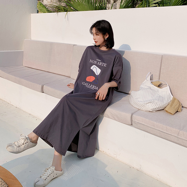 NYFS Summer Dress 2021 New Elastic bubble Short Sleeve Long Dress Vestidos Robe Elbise Fashion Cotton Printing Woman Dress 3