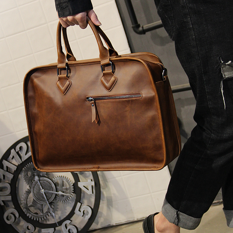 Vintage Crazy Horse Leather Handbag Men's Business Briefcase Korean Version Shoulder Messenger Bag Computer Bag Maleta