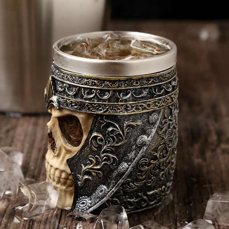 Popularne w stylu Retro róg czaszka żywica kufel do piwa czaszka ze stali nierdzewnej rycerz Halloween filiżanka kawy Viking kubek do herbaty Pub dekoracje barowe #1