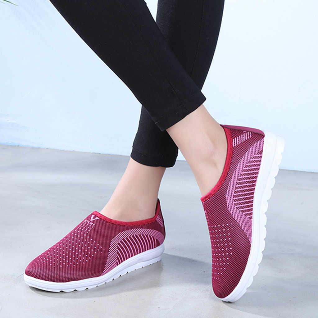 Vrouwen Platte Plus Size Ademend Mesh Sneakers Vrouwen Slip Op Breien Flats Zachte Mode 2019 Lopen Zachte Schoenen Sneakers #812