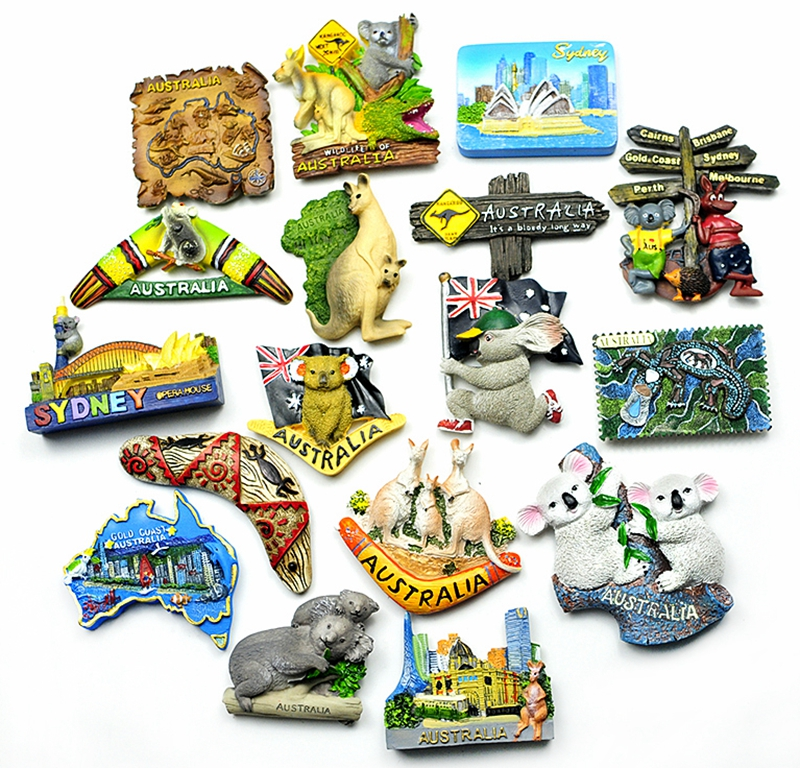Hand-painted <font><b>Sydney</b></font> Map , Australia Kangaroo Koala 3D Fridge Magnets Tourism Souvenirs Refrigerator Magnetic Stickers Gift image