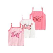 3pcs/Lot Baby Undershirt Girls Tank Tops Cartoon Cotton T-Shirt  Underwear 2-10Years