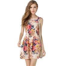 Dress Women Casual 2019 Summer Chiffon Dress Women Clothes Sexy Mini Floral Short Beach Dresses Large Size Robe Femme(China)