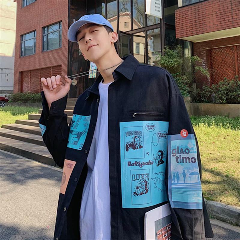 Japanese Cardigan Contrast Letter Print Loose Oversized Streetwear Harajuku Tee Top Shirt Korean Hip Hop Punk Blouse Women Man