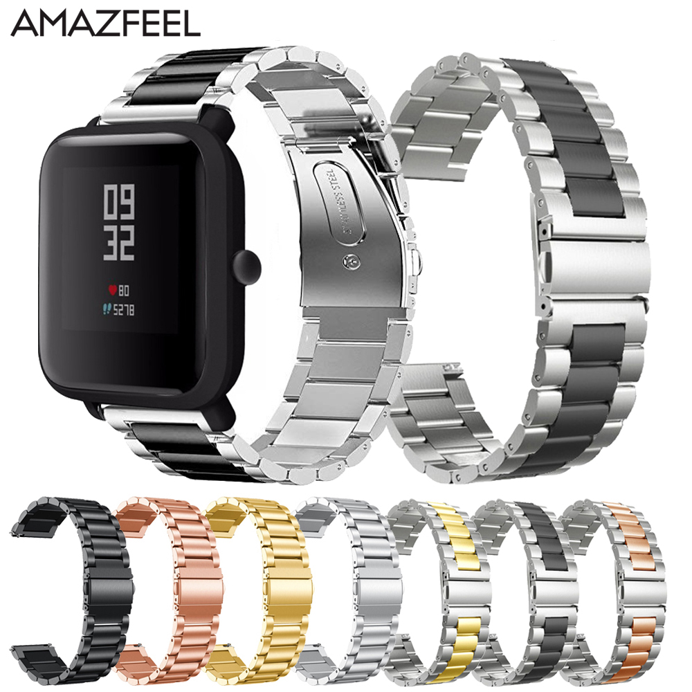 Metal Bracelet For Huami Amazfit Bip Strap Watch Band For Amazfit Stratos 2 Pace GTR 47MM 42MM Watch Strap Stainless Steel