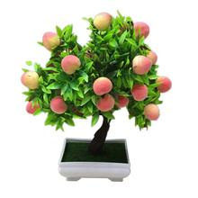 1Pc Potted Artificial realistic Peach Fruit Tree vibrantly colored Beautiful Non-fading Bonsai Home Garden Desktop Decor Prop