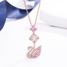 Simple Fashion Romantic Pink Little Swan Necklace Female Clavicle Chain Rose Pink Swan Necklace Ladies New 2021 Banquet Jewelry