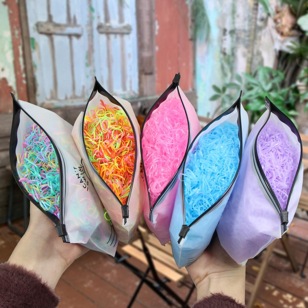1000pcs/Pack Cute Girls Colourful Ring Disposable Elastic Hair Accessories Ponytail Holder Rubber Band Kid Hair Accessories