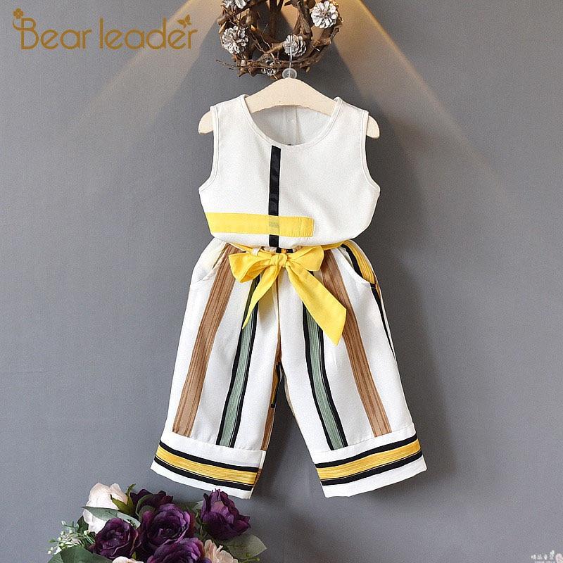 Bear Leader Girls Clothing Sets  Summer Fashion Girls Sleeveless Splicing Design T-shirt+Casual Pants 2Pcs Girls Clothes