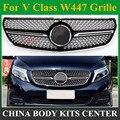 Viano V класс Алмазная решетка черный серебристый хром для Mercedes Benz V260 V250 AMG линия переднего бампера гоночный гриль 2015-2018 гриль
