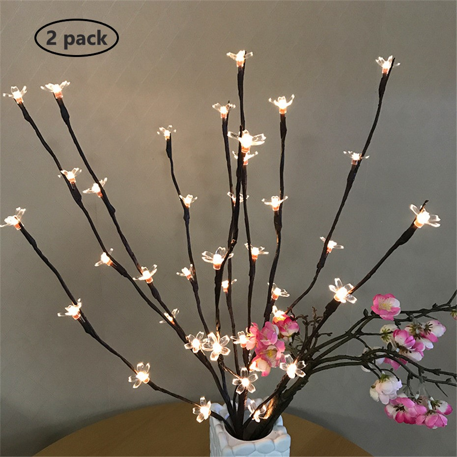 2 Pack Home Decor 40LEDs Branch Lamps Battery Operated Handmade Tall Vase Filler Willow Twig Lighted Branches Bedroom Decoration