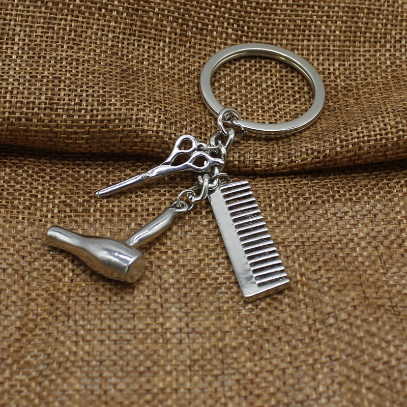 Glamour Key Chain Hairdresser Gift Comb Scissors Hair Dryer Car Interior Accessories Jewelry Gift Keychain