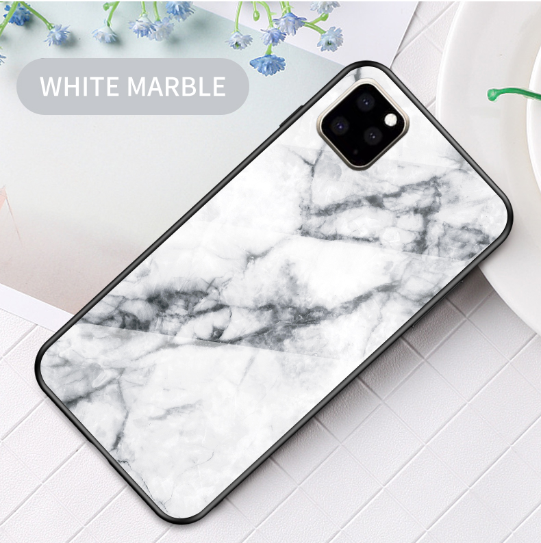 KEYSION Marble Tempered Glass Case for iPhone 11/11 Pro/11 Pro Max 15