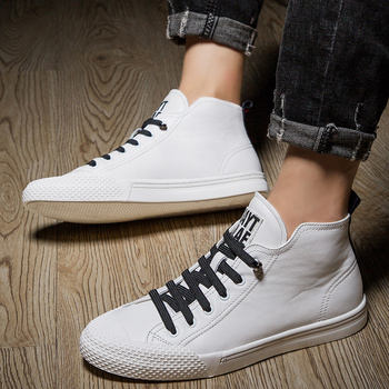 High Top Men shoes leather fashion High Tops Male boots Brand mens casual sneakers waterproof lace up Flats solid color shoes
