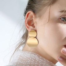 Double Metal clip on Earrings Trendy Gold Silver Color Round Statement Earrings for Women New Arrival wing Fashion Jewelry(China)