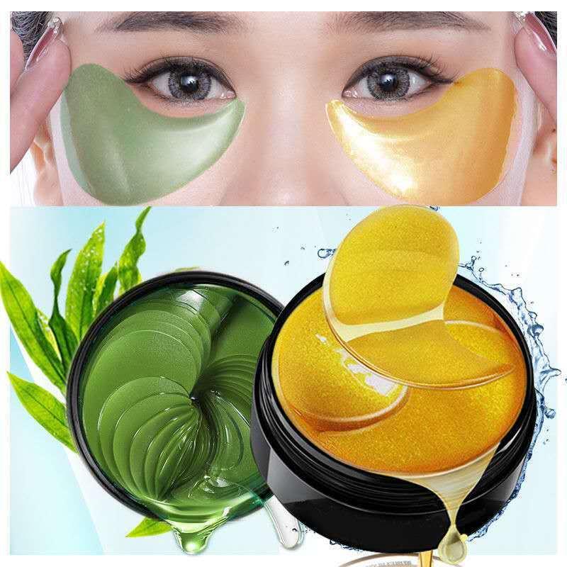 60pcs/box Collagen Moisturizing Eye Golden Mask Green Seaweed  Anti-aging Eye Skin Remove Dark Circles Face Care Mask TSLM1-0