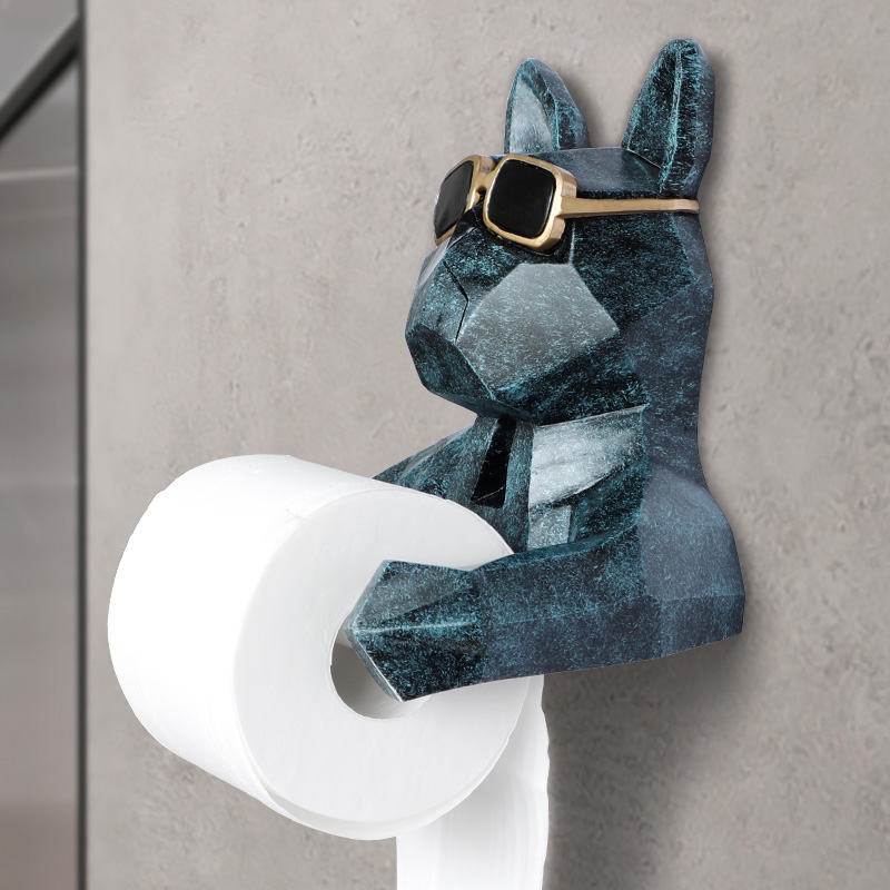 Creative Animal Head Statue Hanging Tissue Holder Bathroom Toilet Wall Hanging Home Decoration Roll Tissue Box Holder Wall Mount