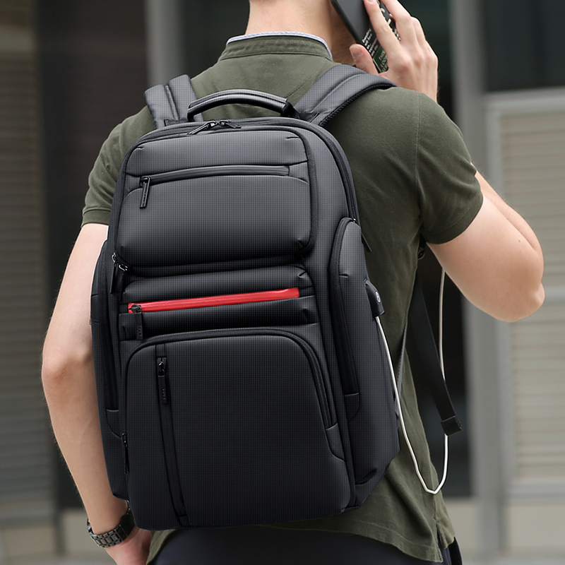 FRN Fashion Business Large Capacity 15.6 Inch Notebook Daily Trip Computer Bag Multi Function USB Charging Men Travel Backpack