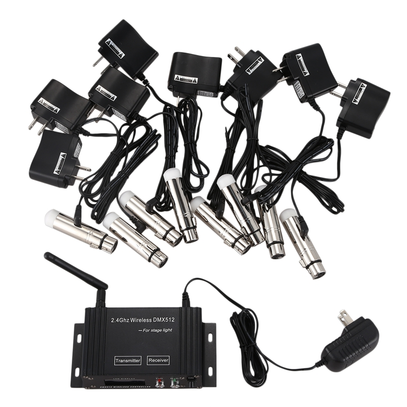 9 Pcs DMX512 DMX Dfi DJ 2.4G LCD Wireless 8 Receiver & 1 Transmitter Lighting Control With Adapter