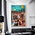 Забавные Искусство Ван Гог и Мона Лиза из плотной ткани Плакаты и печати абстрактный Знаменитые Картины маслом на холсте настенные картины ...
