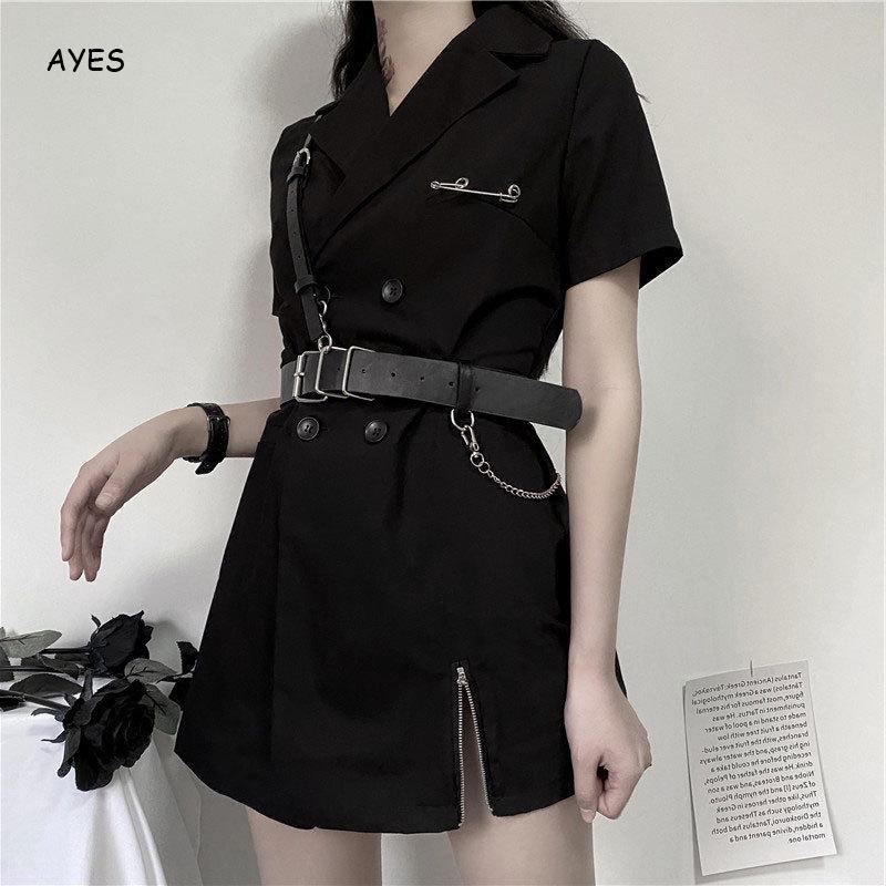 Сексуальное готическое платье женское черное мини с отложным