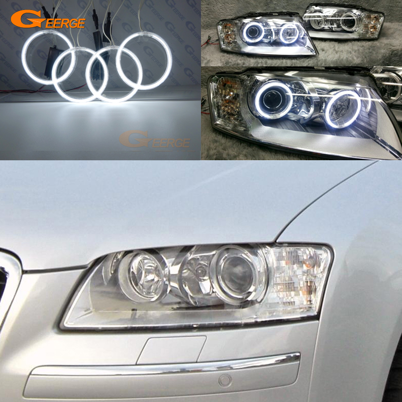 For <font><b>Audi</b></font> <font><b>A8</b></font> S8 2004 2005 2006 2007 2008 2009 Excellent Ultra bright illumination CCFL Angel Eyes kit halo rings image