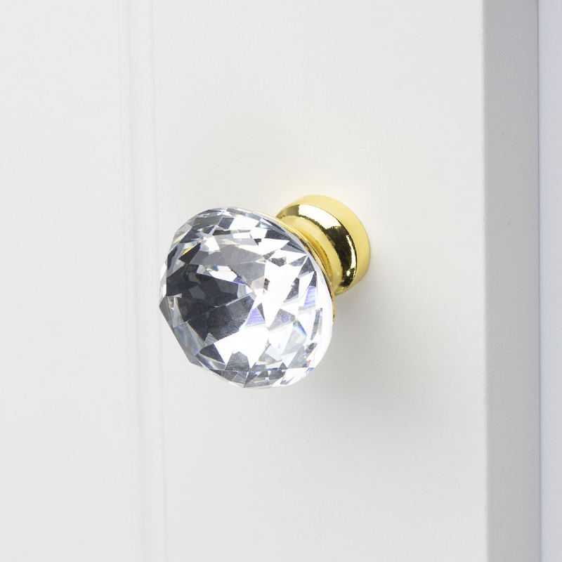 Kitchen Furniture Cabinet Door Handles Drawer Handle Cupboard Door Knob Drawer Pull Crystal With Zinc Alloy Chrome Gold Color