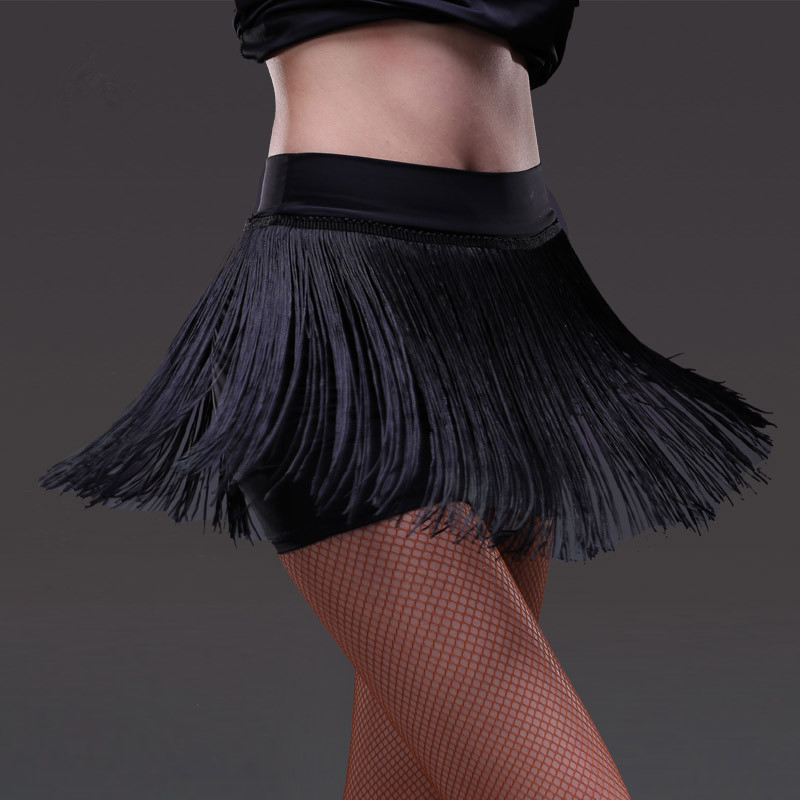 2019 New Lady Latin Dance Skirt For Womens Black Tassel Styles Latin Dance Dress Competition/Practice Dancewear Skirts S-2XL