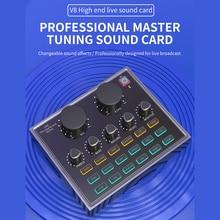 Computer Sound Card External Voice Mixer Bluetooth 5.0 Live Recording Audio Effect USB Sound Mixer Board Card V8 Pro
