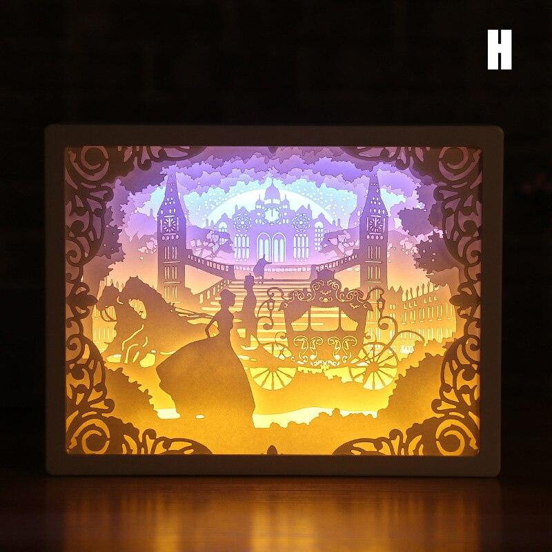 HOT Art Decoration 3D Paper Carving Light Lamp LED Gift For Home Bedroom Bedside TI99