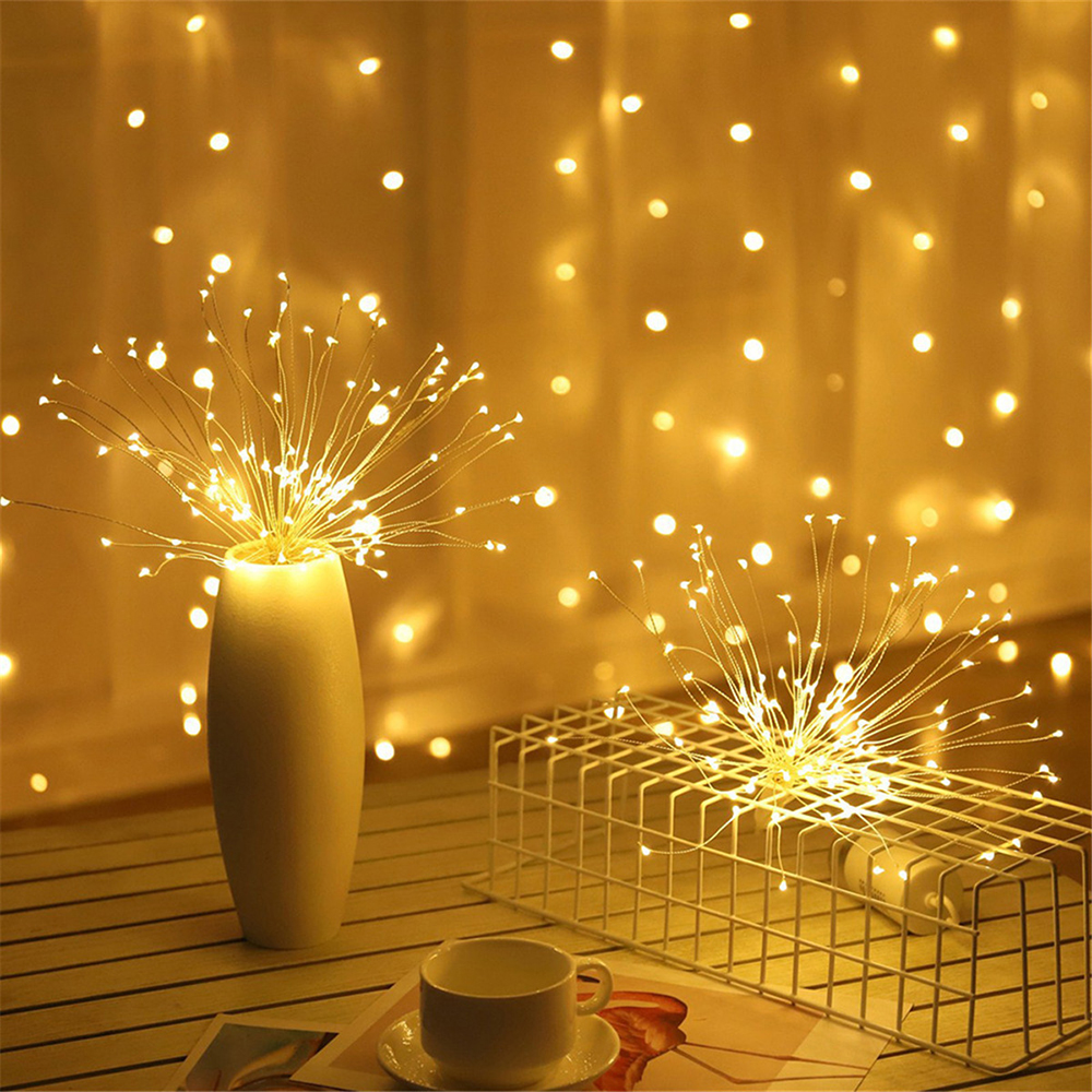 Hanging LED String Lights DIY Firework Copper Fairy Lights Outdoor Battery Operated Garland Christmas Decoration Party Wedding
