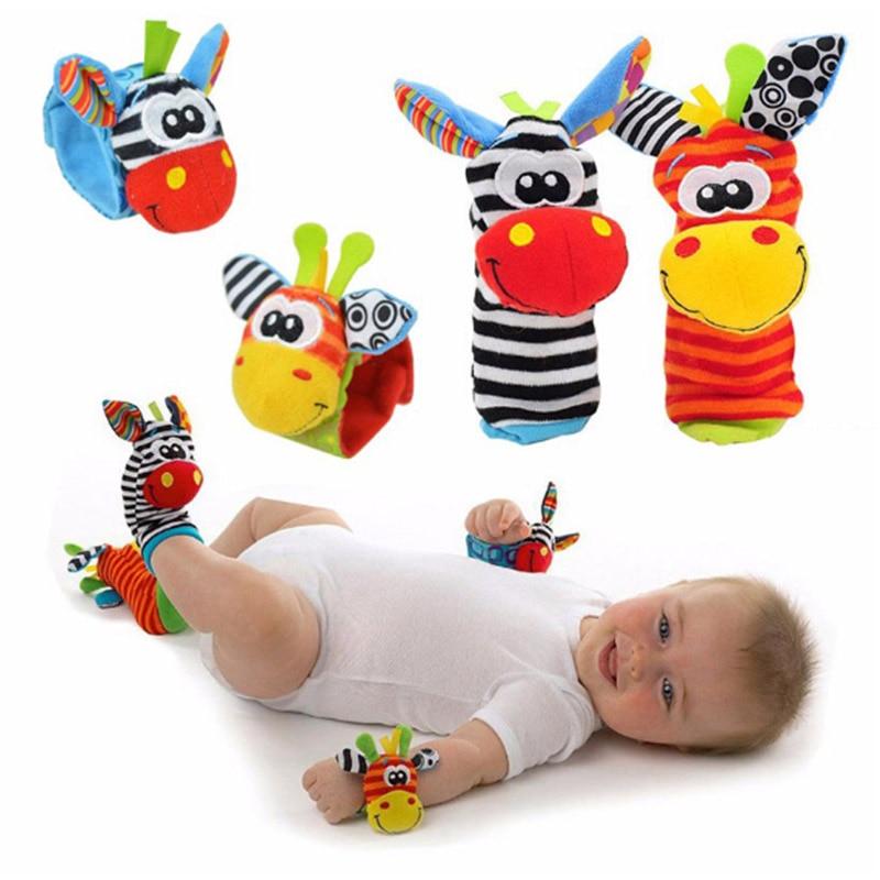 Cartoon Newborn Baby Socks Cute Wrist Strap Rattles Baby Kids Toys 0-24M Infant Animal Socks Plush Toy Gifts Toddler Soft Rattle